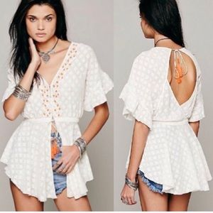 Free People Neon Embroidered Lace Jacket Top M451